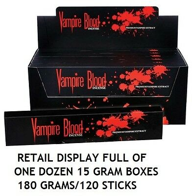VAMPIRE BLOOD INCENSE 120 sticks 15 GRAM BOXES/ complete in RETAIL DISPLAY OF 12