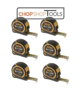6 x Stanley 8m/26ft Pocket Tape Measure with Tylon Blade 30-656