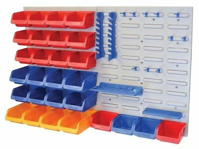 44 Piece Plastic Storage Bin With Backboard For Wall Mounting Tool Organiser New