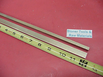 "2 Pieces 1/4"" x 1/2"" C360 BRASS FLAT BAR 12"" long Solid .250"" Mill Stock H02"