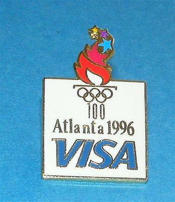 ATLANTA 1996 Olympic Collectible Sponsor Pin - VISA with Olympic Torch
