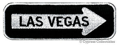 LAS VEGAS ONE-WAY SIGN EMBROIDERED IRON-ON PATCH applique NEVADA SOUVENIR ROAD
