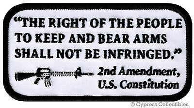 2nd AMENDMENT PATCH US CONSTITUTION GUN embroidered iron-on AR-15 RIFLE - WHITE