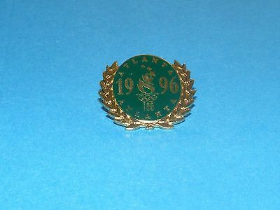 ATLANTA 1996 Olympic Collectible Logo Pin - Green Logo with Gold Leaf Wreath