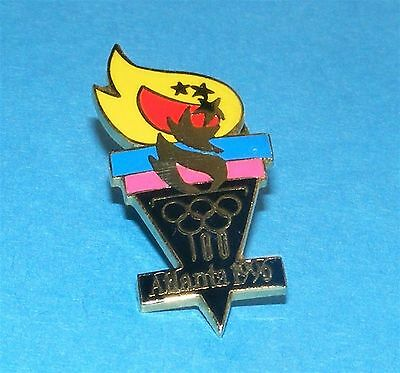ATLANTA 1996 Olympic Collectible Logo Pin - Torch with Yellow Flame in Triangle