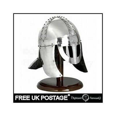 Viking Spectacle Helmet With Cheek Guards And Display Stand New