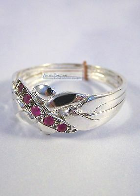 Silver & Ruby Turkish Puzzle Ring 4 Band - silver plated 5 Accent Rubies