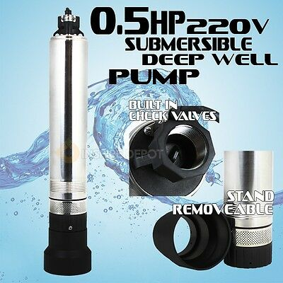"1/2HP Stainless 4"" Submersible Pump Deep Well Bore Sump 220V 26GPM 150FT Max HD"
