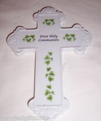 """""""first Holy Communion""""  Porcelain Cross With Shamrocks Ready To Hang"""