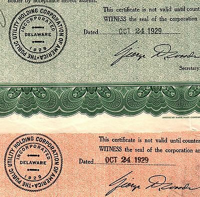xxxRARE 1929 STOCK CERT w DATE OF CRASH! ISS BY FAMED UTIL CO IMPLICATED IN BUST