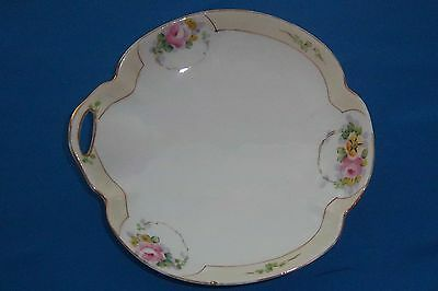 """Nippon Handled Candy Dish w/ Roses & Gold Trim 6.5"""" Nice!"""