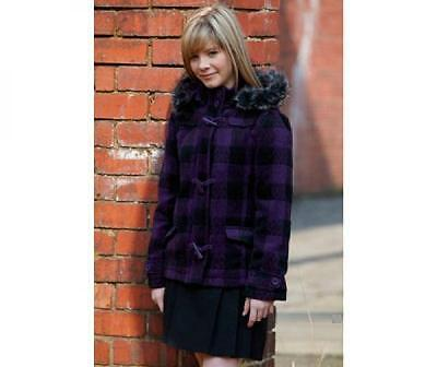 Bnwt New Girls Brave Soul Purple Black Duffle Coat 9/10 & 11/12 Yrs Check Wool