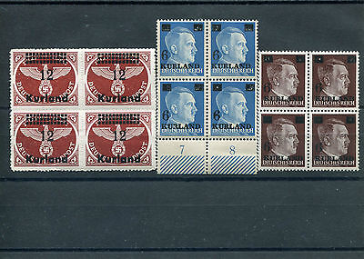 Latvia,kurland, 1945 Mi 2 Type 3, 3 And 4B Blocks Of 4 Mint, Nh