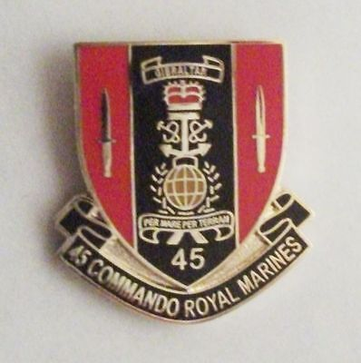 45 Commando Royal Marines Shield Lapel Pin Or Walking Stick Mount