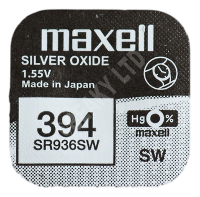 GENUINE Maxell 394 SR936SW Silver Oxide Watch Battery 1.55v [1-pack]