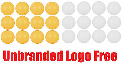 Set Of 12 Table Tennis Balls Ping Pong Plain Logo Free 40mm White Orange Plastic