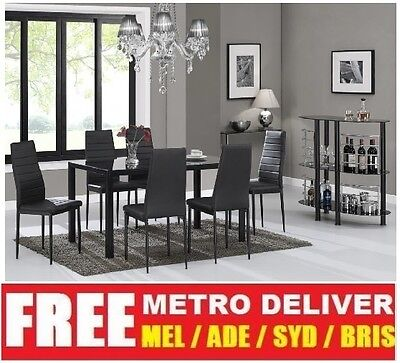 Modern Casey Glass Dining Table With 6 Black Or White Pu Leather Chair Set