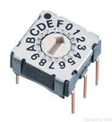 Rotary Coded Switch, Through Hole, 16 Position, 42 VDC, Hexadecimal, 100 mA