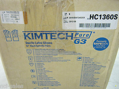 "Kimtech Pure G3 Hc1360S Sterile Latex Gloves 12"" Hand Specific Pairs 2012/08"