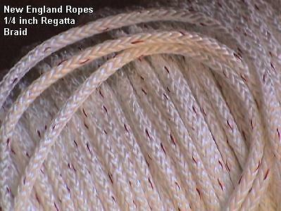 "1/4""  Regatta Braid Rope White, per 10-ft polyester single braid 1250-08"