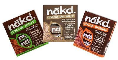 Nakd Raw Wholefoods Bars Mixed Cocoa Case Mint, Orange, Chocolate *GLUTEN FREE*