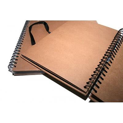 A4 Seawhite Brown KRAFT CARD Spiral Hardback Sketchbook,Display Book,Scrapbook