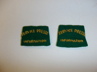 c0390 WW 2 French Military Service Presse Information Shoulder Tab slip on pair