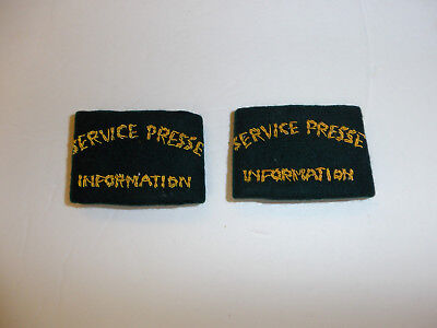 c0391 WW 2 Indochina French Service Presse Information Shoulder Tab slip on pair