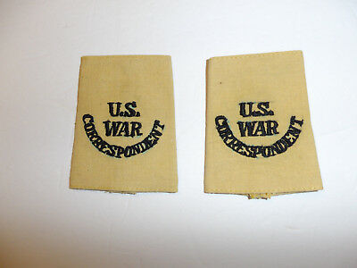 c0394 WW 2 U.S. War Correspondent tan uniform shoulder tabs slip on