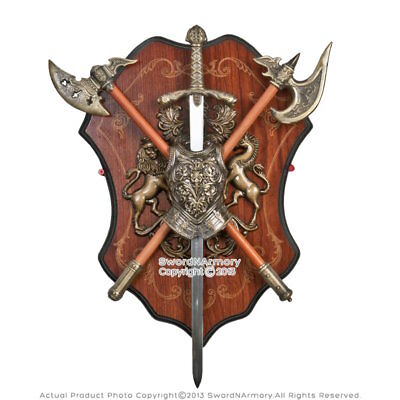 Medieval Breast Plate Armor Display Wall Plaq with Robinhood Sword and Two Axes