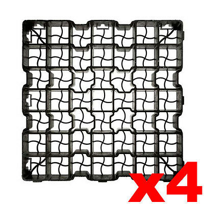 4 x Plastic Paving Driveway Grid Turf Grass Soil Gravel Protector Drainage Mat