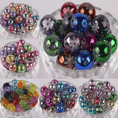 50/100Pcs Mixed color rose pattern beads of different shapes 10MM 12MM 14MM