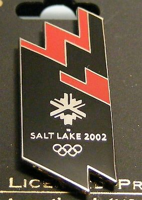 SALT LAKE CITY 2002 Olympic Collectible Logo Pin - Graphic Black & Red