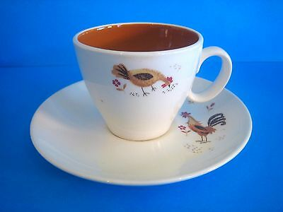 Cup & Saucer Break-o-Day Taylor Smith & Taylor Ever Yours Two Chickens 1960s