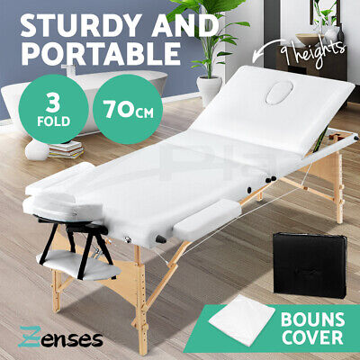Wooden Portable Massage Table 3 Fold Beauty Therapy Bed Chair Waxing WHITE