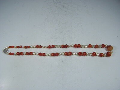 Chinese 1950's cornelian and pearl beads necklace      h9139