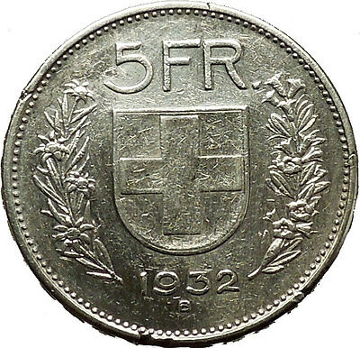 Switzerland  1932AD Big Silver Antique 5 Francs Coin i40355