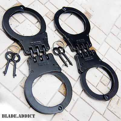 2PC Professional Double Lock Black Steel Hinged POLICE Handcuffs Real Chain EDC