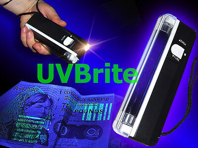 Portable Ultraviolet Counterfeit Polymer Note Money Checker 2-in-1 UV Blacklight