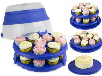 "24 Cupcake Muffins Collapsible Caddy 2 Tier 12"" Cake Carrier Storage Holder Blue"