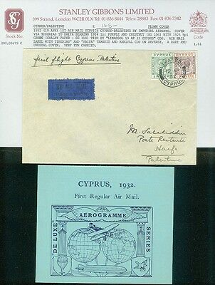CYPRUS : 1932. 1st Air Mail Service Cyprus-Palestine by Imperial Airways. RARE.