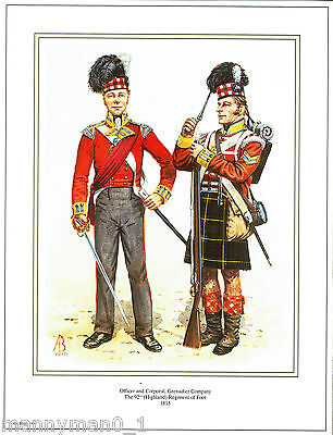 British signed Army Print Highland Grenadier Company 92nd Highland Regiment 1815