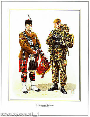 British Artist signed Military Print Pipe Sergeant and Guardsman Scots Guards