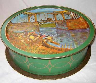 Large Vintage Sunshine Biscuit Tin w/Double Van Gogh Paintings! 13.5""