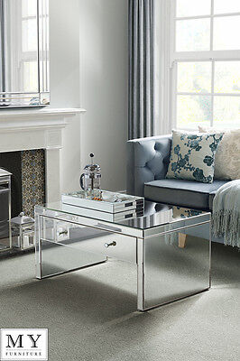 Mirrored Furniture  Venetian Plain Glass Coffee table / large drawer