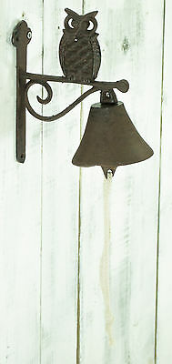 Rustic Vintage Owl Design Cast Iron Decorative Door Bell Garden Ornament