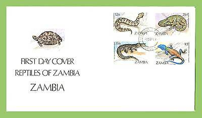 Zambia 1984 Reptiles set on First Day Cover