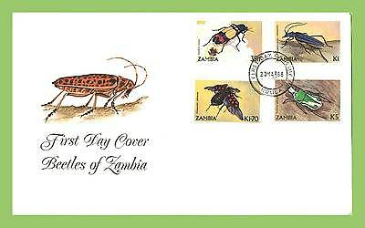 Zambia 1986 Beetles set on First Day Cover