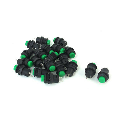 20pcs 12.5mm Thread Green Cap SPST Latching Type Push Button Switch OFF-ON