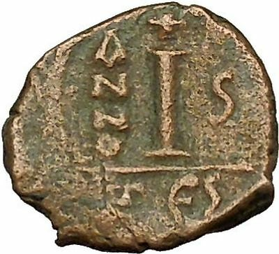 JUSTIN II 565AD Decanummium Authentic Ancient Medieval Byzantine Coin  i40322